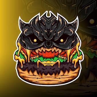 Vecteur de logo de mascotte de jeu de monstre de hamburger