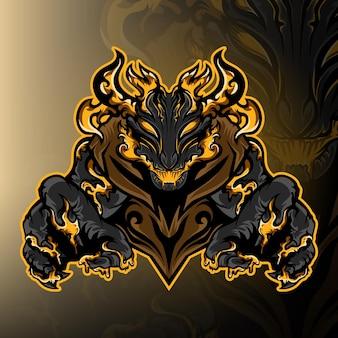 Vecteur de logo de mascotte de jeu de monstre noir