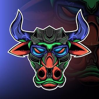 Le vecteur de logo de mascotte de jeu de monstre sauvage byson