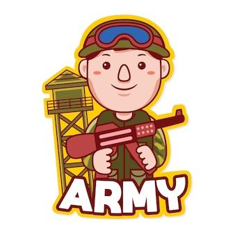Vecteur de logo de mascotte de profession de l'armée dans le style de dessin animé