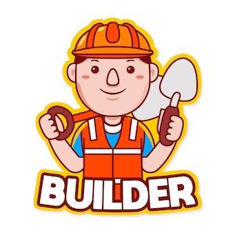 Vecteur de logo de mascotte de profession de constructeur dans le style de dessin animé
