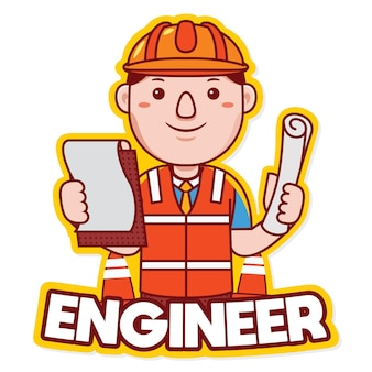Vecteur de logo de mascotte de profession d'ingénieur dans le style de dessin animé