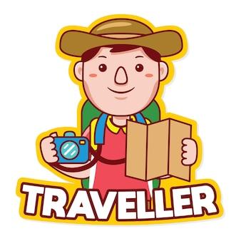 Vecteur de logo de mascotte de profession de voyageur dans le style de dessin animé