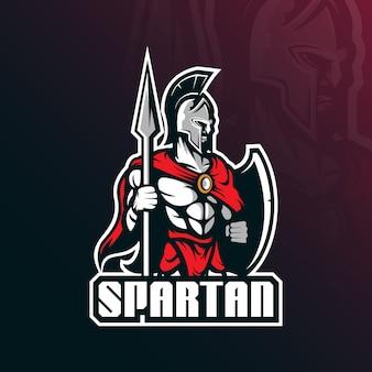 Vecteur de logo mascotte spartiate avec style de concept illustration moderne pour impression badge, emblème et t-shirt.