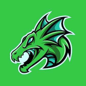 Vecteur de logo de mascotte de sport et de jeu premium tête de dragon de mer greean