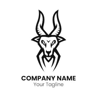 Vecteur de logo mascotte tête de chèvre
