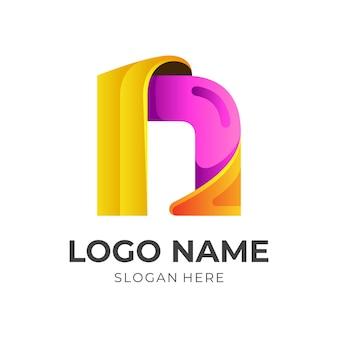 Vecteur de logo n initial simple avec un style coloré 3d