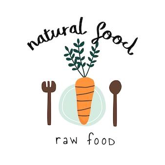 Vecteur de logo de nourriture crue naturelle