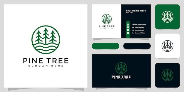 Vecteur de logo de pin et de rivière et carte de visite