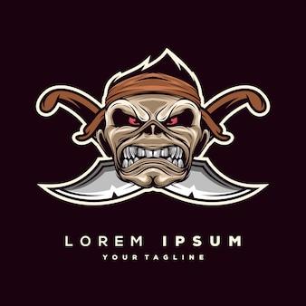 Vecteur de logo de pirates de crâne