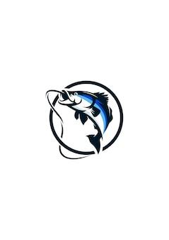 Vecteur de logo poisson pêche