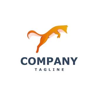 Vecteur de logo de renard sautant