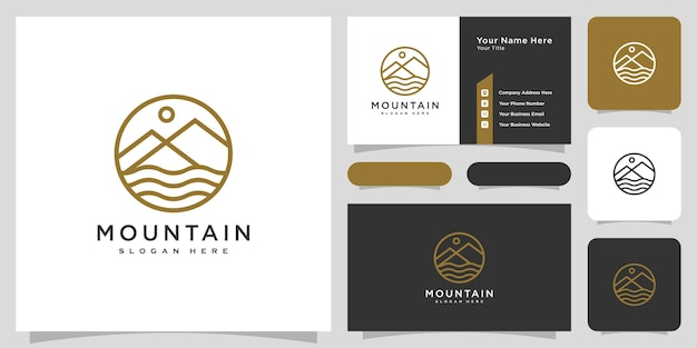 Vecteur de logo de rivière de montagne avec conception de carte de visite