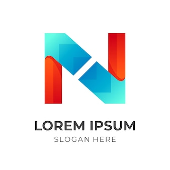 Vecteur de logo simple lettre n avec style de couleur orange et bleu 3d