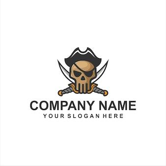 Vecteur de logo de skul pirate