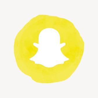 Vecteur de logo de snapchat dans la conception d'aquarelle. icône de médias sociaux. 21 juillet 2021 - bangkok, thalande