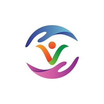 Vecteur de logo de soins des personnes à la main