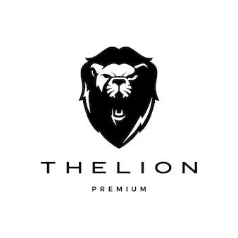 Vecteur de logo tête de lion rugissant