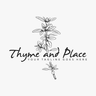 Vecteur de logo de thym aux herbes dessiné à la main
