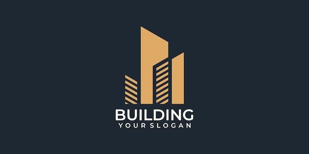 Vecteur de logo unique de l'immobilier créatif pour l'image de marque