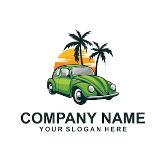 Vecteur de logo de vacances combi vert