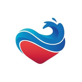 Vecteur de logo de vagues d'amour