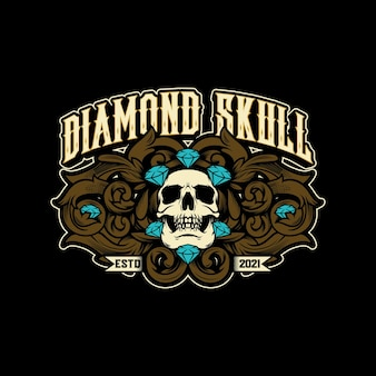 Vecteur de logo vintage de crâne de diamant