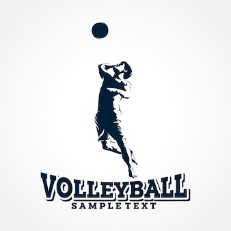 Vecteur de logo de volley-ball, vecteur de silhouette premium