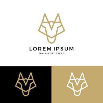 Vecteur de loup ligne logo