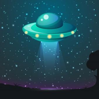 Vecteur de lumière ufo. poutres de ciel exotiques. vaisseau spatial ufo avec faisceau, soucoupe ufo illustration volante