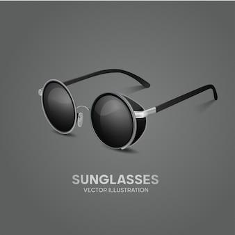 Vecteur de lunettes de soleil élégant avec cadre argenté et verre noir