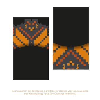 Vecteur de luxe modèle pour carte postale de conception d'impression en couleur noire avec ornement slovène. préparer une invitation avec une place pour votre texte et vos motifs vintage.