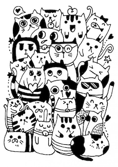 Vecteur à la main noir et blanc dessiner, style de caractères de chats doodles illustration à colorier pour les enfants.