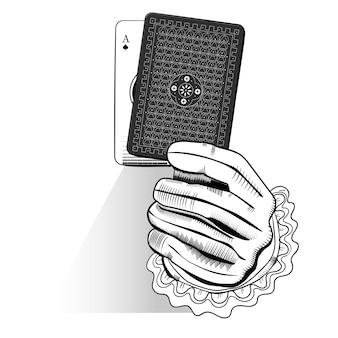 Vecteur de main tenant au hasard une carte à jouer