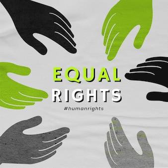 Vecteur de mains diverses en niveaux de gris «egalité des droits» publication sur les réseaux sociaux du mouvement