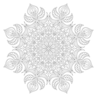 Vecteur mandala. élément décoratif oriental. motifs islamiques, arabes, indiens, turcs, pakistanais, chinois, ottomans. éléments de design ethnique. mandala dessiné à la main. mandala de contour monochrome pour la coloration.