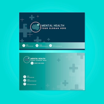 Vecteur de maquette de carte de nom psychiatre santé mentale