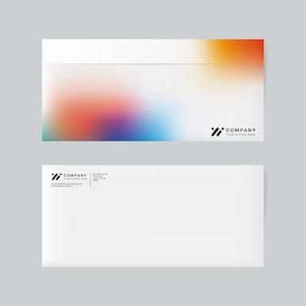 Vecteur de maquette d'enveloppe d'identité d'entreprise en dégradé de couleurs pour une entreprise technologique