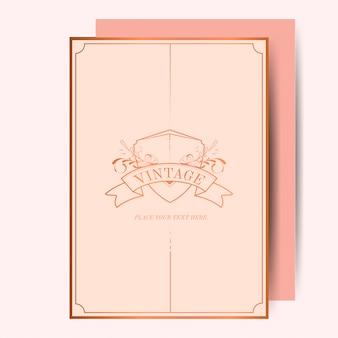 Vecteur de maquette vintage rose or art nouveau mariage invitation