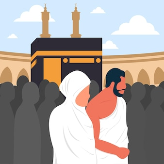 Vecteur d'un mari et d'une femme musulmans faisant du tawaf autour de la kaaba vecteur premium