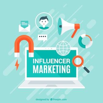 Vecteur de marketing influenceur moderne