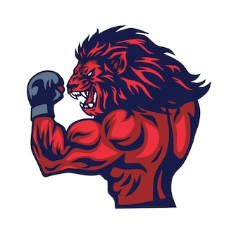 Vecteur de mascotte de combattant de lion