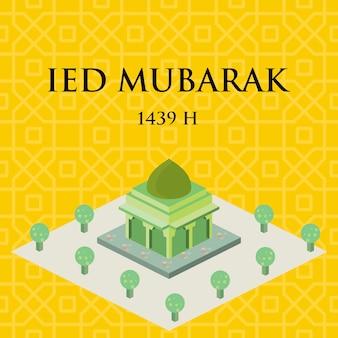 Vecteur de masjid isométrique.