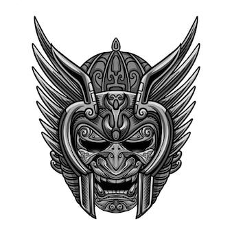 Vecteur de masque ciel argent guerrier