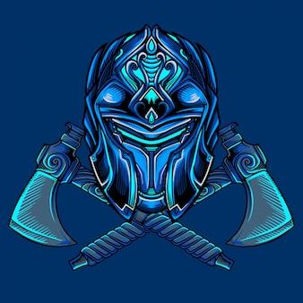 Vecteur de masque de guerrier de glace