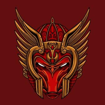 Vecteur de masque guerrier rouge ciel