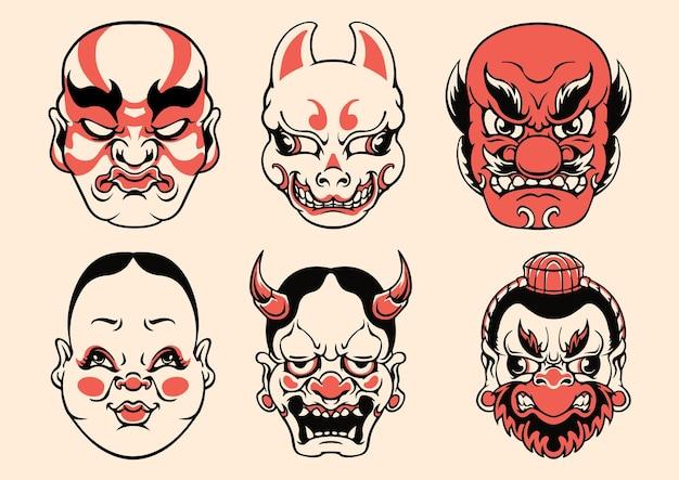 Vecteur de masque mignon japonais