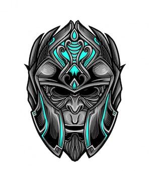Vecteur de masque de singe guerrier chevalier