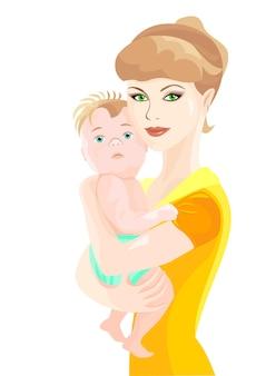 Vecteur, mère, étreintes, bébé, fils
