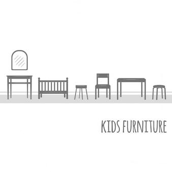 Vecteur de meubles plat icône ensemble